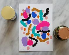 Gouache watercolour abstract modern pink and black painting by JaccoCreates Abstract Watercolor, Watercolour, Black Painting, Cheer Up, Happy Colors, Gouache, Create Yourself, Modern Art, Etsy Seller