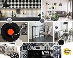 Planche inspiration pour : salon, salle à manger, cuisine et bureau. Coloris : dégradé du blanc au noir. Deco, Turntable, Music Instruments, Design, Floor, Dinner Room, Living Room, Desk, White People