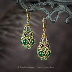 Earrings «Scarab Fabergé» Collection «Fabergé».  Earrings with pearls and Swarovski beads Japanese