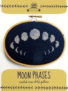DIY Moon Phases Cross Stitch Kit by CozyBlue