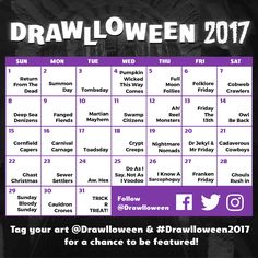 They're Heeeerrrreeee! Hey there my spooky scribes and sketchers! The 2017 #Drawlloween Calendar is here! New prompts, new fonts, and a...