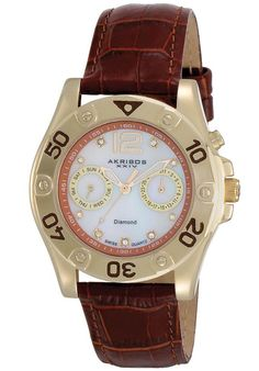 Price:$117.14 #watches Akribos XXIV AK483BR, This Akribos XXIV women's watch is loaded with goodies. Featuring a mother of pearl dial, the date at 3 o'clock position and day of week at 9 o'clock subdials are powered by the Swiss quartz movement. Genuine diamond dot the hour markers. The dial is protected by Shatter resistant Krysterna crystal and comes complete with a genuine calfskin leather strap
