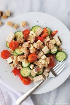 Panzanella with Chicken – Tina's Chic Corner Tuscan Salad, Whole Wheat Sourdough, Vinegar Dressing, Stale Bread, Always Hungry, Fresh Mozzarella, Kinds Of Salad, Summer Treats, How To Dry Oregano