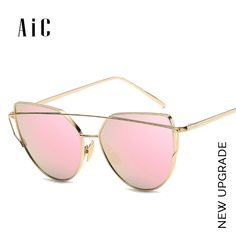 3ad43666dfac34 ZUCZUG Sunglasses Women Luxury Cat eye Brand Design Mirror Flat Rose Gold  Vintage Cateye Fashion sun glasses lady Eyewear   Apparel Accessories    Pinterest ...