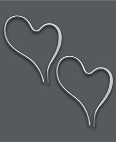 Jody Coyote Sterling Silver Earrings, Free Form Wire Heart Earrings