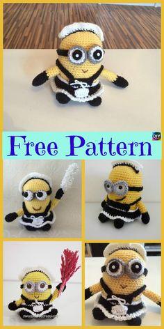 Super Cute Crochet Minion Character- Free Patterns #freecrochetpatterns #minion #giftidea