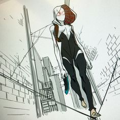 Spider-Gwen by Chris Copeland #SpiderVerse, finally! An idea of her shoes