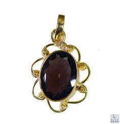 #Smoky #Quartz Gold Plated #Fashion #pendant #Artificial #RiyoGems #Jewelry #Jewellery #gems #gemstone
