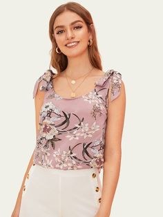 To find out about the Floral Print Knotted Shoulder Top at SHEIN, part of our latest Tank Tops & Camis ready to shop online today! Tank Top Outfits, T Shirt Diy, Two Piece Outfit, Cropped Tank Top, Casual Tops, Minimalist Fashion, Fashion News, Beachwear, Floral Prints