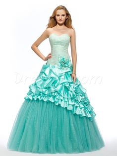 Sweetheart Embroidery Flower Tiered Lace-up Long Quinceanera Dress Quinceanera Dresses, Teal Prom Dresses, Strapless Dress Formal, Formal Dresses, Wedding Dresses, Plus Size Gowns, Dress Vestidos, Wedding Veil, Dress Collection