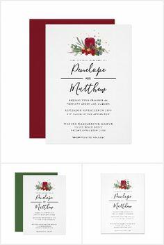 Christmas Wedding Invitations, Watercolor Red, Rustic Candles, Minimalist Wedding, Wedding Suits, Wedding Season, Wedding Designs, Place Card Holders, Wreaths