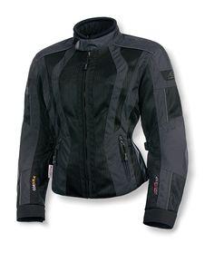 Womens Black Lightweight Nylon Vented Riding Jacket w Piping