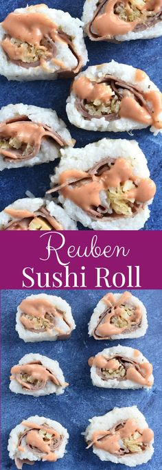 Reuben Sushi Roll is a different take on sushi that is simple to make with 5-ingredients and super delicious with pastrami, Swiss cheese, sauerkraut, sushi rice and Thousand Island dressing for an appetizer that you don't even have to cook! www.nutritionistreviews.com #sushi #reuben #appetizer #snack #sauerkraut Healthy Cookie Recipes, Easy Appetizer Recipes, Healthy Dishes, Yummy Appetizers, Yummy Snacks, Baking Recipes, Whole Food Recipes, Snack Recipes, Delicious Recipes