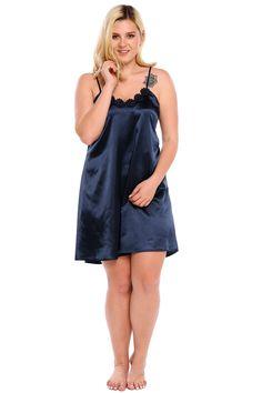 b9c2b93967c Dark blue Spaghetti Strap Lace Satin Plus Size Nightgown Sleepwear