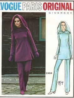 1970s Fab VOGUE PARIS ORIGINAL 2484 GIVENCHY Tunic, Pants and Hood Pattern Space Age Mod Style Bust 34 Vintage Sewing Pattern UNCUT + Label