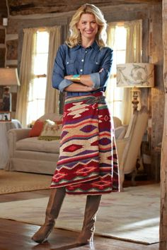 I love the ease of this look -- not sure if this is actually MY style or if I'd just like it to be -- I might be too small to carry it off (unless it was tailored to fit my stature) - Serape Wrap Skirt # 35118 from Soft Surroundings