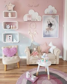 New baby girl room paint ideas Baby Room Decor, Bedroom Decor, Room Baby, Bedroom Storage, Girl Bedroom Designs, Kids Room Design, Room Kids, 10 Year Old Girls Room, Baby Girl Bedroom Ideas