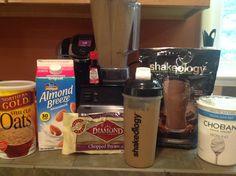 Creamy Chocolate Maple Pecan Oat Shakeology   1C unsweetened almond milk, 1 scoop chocolate shakeology, couple drops maple extract, dollop plain Greek Yogurt, Tblsn raw pecans, tblsn oats add ice blend and enjoy!
