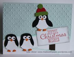 Day Cute Penguin Card By Julie Oliver. Penguins made with the Stampin' Up owl punch. Detailed instructions on her website.By Julie Oliver. Penguins made with the Stampin' Up owl punch. Detailed instructions on her website. Homemade Christmas Cards, Christmas Cards To Make, Christmas Makes, Noel Christmas, Handmade Christmas, Homemade Cards, Holiday Cards, Christmas Wishes, Christmas Punch
