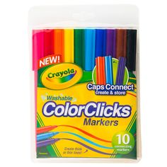 For colorful, creative connections, they're easily storable and washable. Cap Drawing, Creative Connections, Washi Tape, Markers, Stationery, Diy Crafts, Crafty, Colorful, Toys
