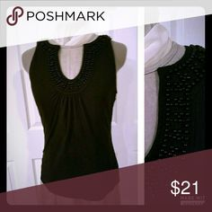 ANN Taylor knit tank with black seed pearls. Comfy classy tank. Ann Taylor Tops Tank Tops