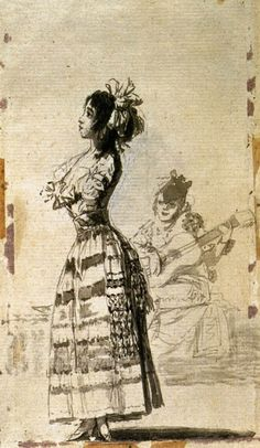 GOYA Y LUCIENTES, Francisco de Girl Listening to a Guitar 1796-97 Indian ink wash, 170 x 99 mm Museo del Prado, Madrid