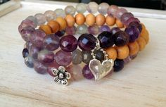 Perfect for Spring which is right around the corner… Purple Fluorite Beaded Stretch Bracelets w Sterling by LoveandLulu, $30.00