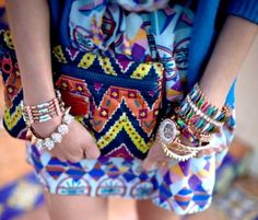 #Tribalprint clutch bag with #brightcolors