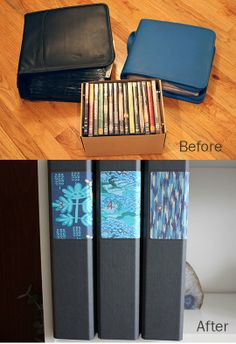 A ha! A potential way to organize CDs and DVDs that will not cost thousands of dollars, and is easy to add on to. Love it!   |   How To Organize CDs and DVDs in Standard Binders  Apartment Therapy Tutorials