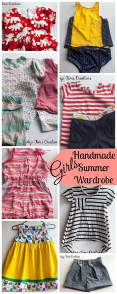 Girls Summer Handmade Wardrobe for a toddler all my favorite patterns, sewn by Nap-Time Creations