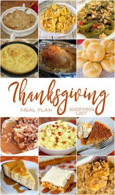 Thanksgiving Meal Plan with Shopping ListReally nice recipes.  Mein Blog: Alles rund um die Themen Genuss & Geschmack  Kochen Backen Braten Vorspeisen Hauptgerichte und Desserts # Hashtag