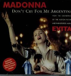 """For Sale - Madonna Don't Cry For Me Argentina - Poster Sleeve Australia  CD single (CD5 / 5"""") - See this and 250,000 other rare & vintage vinyl records, singles, LPs & CDs at http://eil.com"""