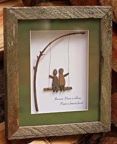 Siblings on a Swing - Salt and Pebbles Pebble Stone, Pebble Art, Stone Art, Pebble Pictures, Stone Pictures, Stone Crafts, Rock Crafts, Rock And Pebbles, Sea Glass Art