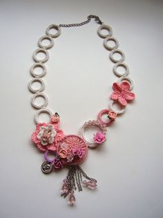 Crochet necklace in pink and ivory unique by KSZCrochetTreasures