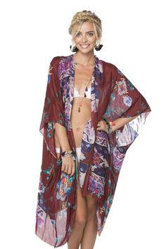 Hey Jude Modal Kimono Wrap in Maroon