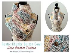 Rustic Chunky Button Cowl - Free Crochet Pattern - Scarf of the Month Club hosted by The Stitchin' Mommy and Oombawka Design | http://www.thestitchinmommy.com