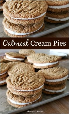 Jul 7, 2019 - Oatmeal Cream Pies are a soft and chewy oatmeal cookie sandwiched together with a delicious butter cream filling. Homemade Oatmeal Cream Pies. Great Desserts, Fall Desserts, Delicious Desserts, Dessert Recipes, Dessert Ideas, Baking Recipes, Fall Cookie Recipes, Cookie Recipes From Scratch, Fun Recipes