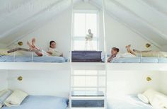 Lofted bunk beds w/ driftwood safety rails; Kelly Harmon