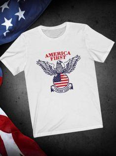 America First Trump nazi Eagle T-Shirt,trump eagle shirt, trump shirt, Usa Political Slogans, Freedom Quotes, Usa Shirt, Eagle Shirts, Trump Shirts, Coat Of Arms, Size Chart, Shirt Designs, America