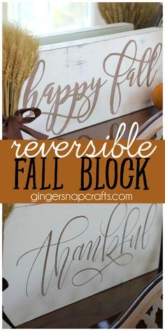 Reversible Fall Block at GingerSnapCrafts.com #fall #DIY #Silhouette