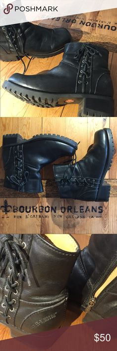 """Black Harley Davidson boots These are marked a size 6 or EU 37.. for whatever it's worth I usually wear a US 7 and EU 37 and these fit me. Never worn outside the house (very comfortable). Toe to heel is 9.75"""" Harley-Davidson Shoes Combat & Moto Boots"""