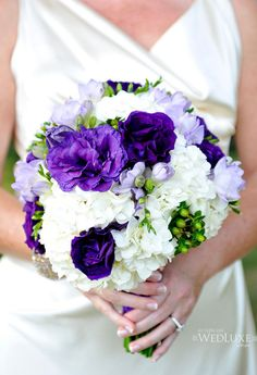 purple and white bouquet like how full this bouquet looks, but i think im liking the cascading bouquets more than the round posies