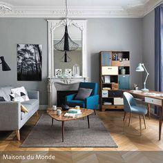 Wenn Mid-Century-Retromöbel auf Stuckleisten treffen, sorgt dies für einen besonderen Look. Die klassischen Elemente kombiniert mit Möbeln im Look der 50er …