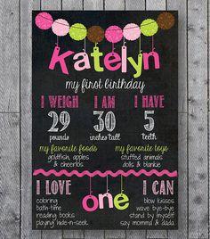 Girly First Birthday Chalkboard // Birthday Chalkboard Sign // Pink & Green Pom Pom on Etsy