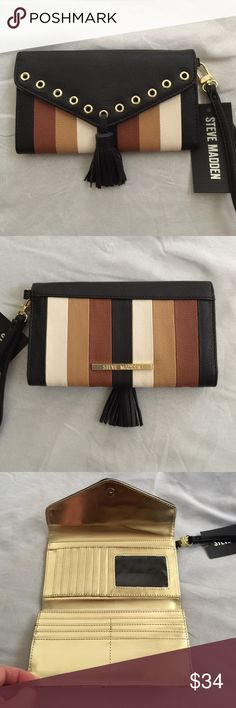 Steve Madden Multi-Colored Trifold Wristlet/Wallet Steve Madden multi-colored trifold wristlet/wallet with metallic gold interior. Plenty of credit card slots (14) and 2 slots for cash. Removable strap. NWT Steve Madden Bags Wallets