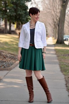 Already Pretty outfit featuring white blazer, polka dot tank, green skirt, cognac belt, BCBGeneration Doris boots, stretch bracelets, chunky chain necklace