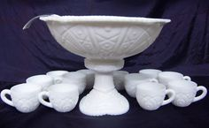 Antique Mckee milk glass punch bowl with 15 cups
