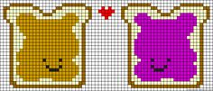 Peanut Butter and Jelly Haha Perler Bead Pattern or Cross Stitch Chart