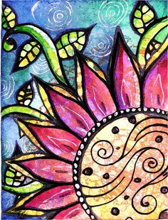A single flower...says so much..using stamps,ink,pens,gel pens,markers