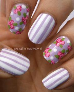 lavendar spring nail design